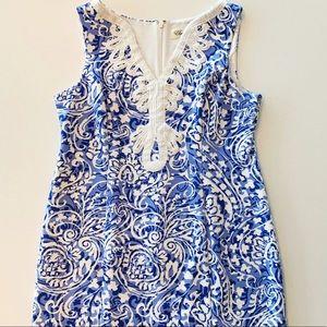 Eliza J like-new size 15 delft blue & white w trim